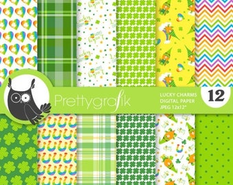 80% OFF SALE Lucky charms digital papers, commercial use,  scrapbook papers,  papers, background - PS847