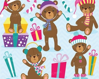 80% OFF SALE 80 Percent 0FF Sale Christmas Teddy bear clipart commercial use, vector graphics, digital clip art, digital images  - Cl609