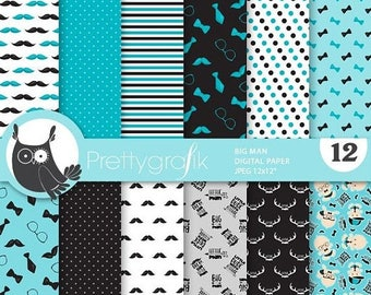 80% OFF SALE Little man digital paper, baby boy commercial use,  scrapbook papers, background, baby shower - PS890