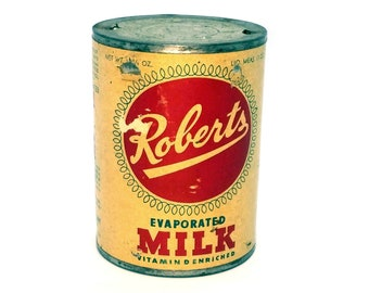 Vintage Milk Can, Roberts Evaporated Milk Tin, Farmhouse Decor Kitchen, General Store Prop