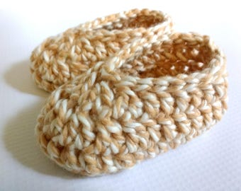 Organic Baby Booties: Crochet Organic Cotton Soft Soled Baby Shoes, Organic Cotton Tan & White Tweed Baby Slippers, 3 Months, Ready to Ship