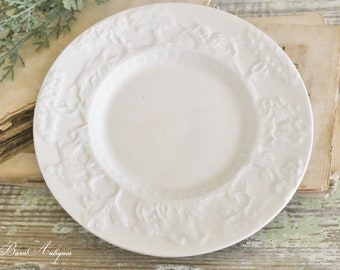 Antique Vintage White Ironstone Plate ENGLISH Hunt Club  Farmhouse Decor Fixer Upper Decor