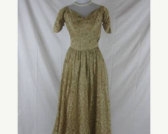 Summer sale Vtg 40s 50s Gold Womens Vintage Lace Evening Gown Party Dress W 25