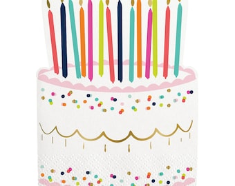 Birthday Napkins | Die Cut Birthday Cake Napkins | Birthday Party Napkins | Dessert Napkins | Cake Shaped Napkins | Die Cut Cake Napkins
