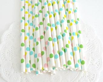 Pastel Polka Dot Paper Straws 25 Count, Pastel Polka Dot Straws, Pastel Dot Straws, Pastel Party Straws, Ice Cream Party, Pastel Party