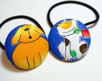 Fabric Button Hair Ties  Dog Print-  = Craft Button = Pony Tail Holder  = Fabric Sewing Button Lg - Childrens Hair Tie - 1 1/2""