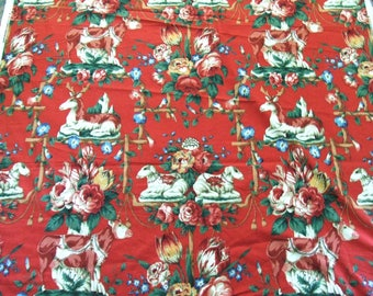 English Fabric by Ramm Les Animaux Made in England Pastoral Print 5 Yards