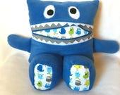 Monster Pillow - Pajama Eater - Monster Buddy - Worry Eater - Secret Stasher - Plush Toy - Boy/Girl Gift - Christmas Gift - Blue, White