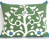 Mexican Tree of Life Pillow in Green Cotton and Creamy White Wool Felt Applique with Teal Felt Trim