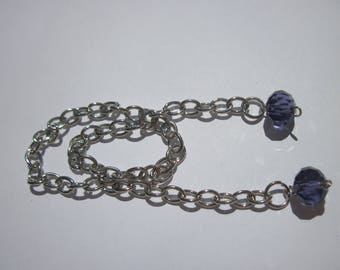 silver metal chain with glass (BB17)