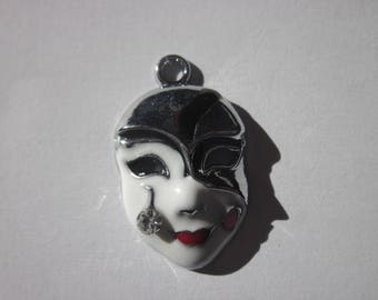 Mask charm Harlequin metal with Rhinestones (119)