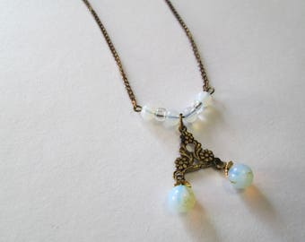 Vintage 'Sea Opal' glass and brass necklace