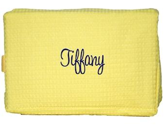 Monogrammed Cosmetic Bag | Monogram Make Up Bag | Personalized Makeup Bag | Monogrammed Cosmetic Case | Yellow Waffle Weave Cosmetic Bag