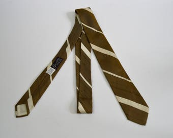 Vintage 1960s Gold and Cream Striped Silk Skinny Tie by Fairmont