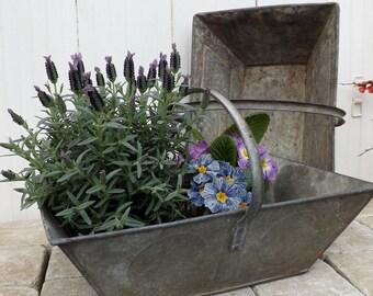French garden trug vintage galvanised zinc vegetable basket gardening basket authentic pannier de vendange industrial decor metal basket