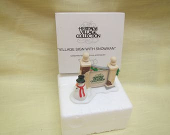 Village Sign With Snowman  *** Dept. 56 , Heritage Village Collection # 5572-7 ** 1990s
