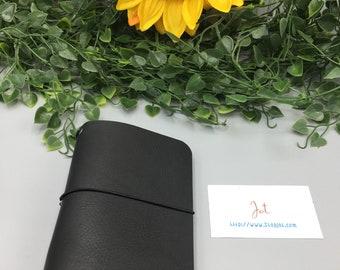 PJ08 - Basic Black - PocketJot Traveler's Notebook/Planner Cover/Journal