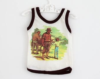 RESERVED FOR KATIEBARKER Vintage cotton tank vest with cowboy motif and brown trim, by Telsalda of London, approx age 9-12 months