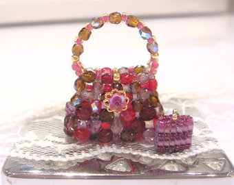 Dollhouse handbag purse glass beaded ooak 12th scale miniature