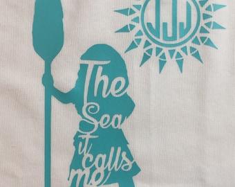 Personalized moana shirt, monogram moana shirt, the sea it calls me moana shirt, monogrammed disney shirt