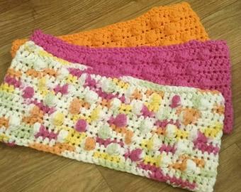 3 Crochet Swiffer covers in pink yellow green orange & white tones, swiffer duster, swiffer mop, reusable Swiffer pad, Swiffer sweeper