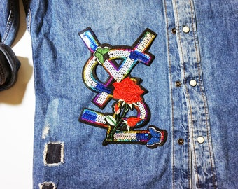 Colorful brand embroidery patch