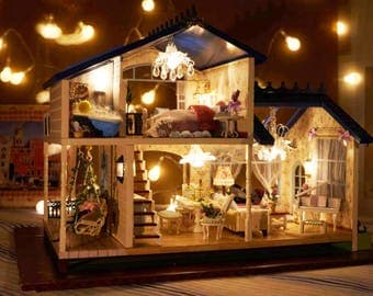Provence Lavender Villa * Light and music * DIY Handcraft Miniature Project * Wooden Dolls House Kit * Dollhouse Kit* 1:24 miniature