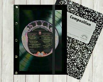 Styx Journal Cover -  Styx Journal Notebook -  Refillable Journal cover -  Music Journal -  Songwriter Gift - Music Lover Gift -  J170B