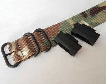 JaysAndKays® Adapters and Strap Kit for Casio GShock G-Shock Camo Black PVD 3-ring Ballistic Nylon