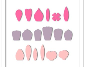 Flower petals set to create small/ large 3D flowers - cutting file in SVG, STUDIO, PDF formats