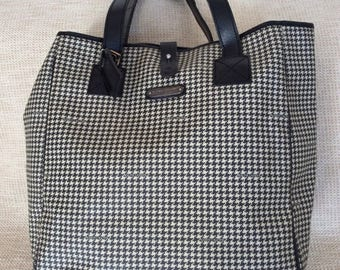 20% SUMMER SALE Genuine vintage Ralph Lauren XL black houndstooth tote bag