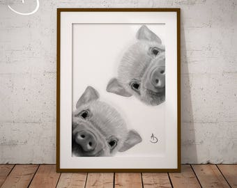 CUTE CURIOUS PIG Drawing download, Pig Wall decor, Curious Pig Print, Printable Pig Poster, Pig Decor, Curious Animals, Pig Art, Pig Print