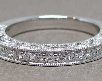 Vintage Style Round Wedding Band 18k White Gold .35cts Pave Rose Gold Yellow  Gold