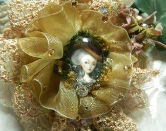 Beaded embroidered brooch, Marie-Antoinette,romantic, cahochon, Swarovski crystal; organza, silk