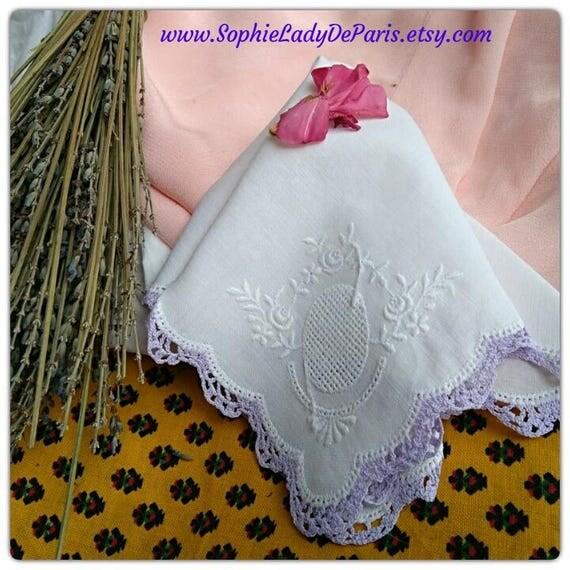 Vintage Embroidered White Linen Handkerchiefs Purple Lace Trim French Fabric Tissue Pocket Square Unused #sophieladydeparis