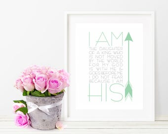 I am His-Inspirational-Typography-Mint-Arrows-Bible-Kids Room-Nursery-Home Decor-Art-Modern-Minimalist-Scripture