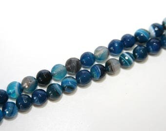 25 PCs  agate beads / gemstone / 8 mm / color : blue marbled   EAC04-8