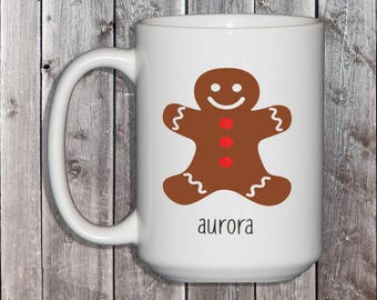 Personalized Gingerbread Man Mug - Christmas Gift - Xmas Hostess Gift - Christmas Gifts for Kids - Xmas Morning - Ginger Bread Cookie