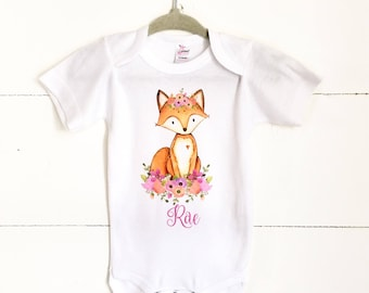 Boho Baby Clothes, Baby Girl Fox Shirt, Fox bodysuit, Fox floral crown, woodland animals nursery, woodland animals theme