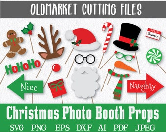 Christmas Photo Booth Props and Decorations -  SVG Cut File - DxF - PnG - JPeG - PdF - EpS - AI - Over 60 Images - INSTaNT DOWNLoAD