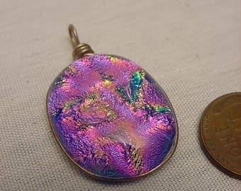 Dichroic Fused Glass Pendant Sterling Silver Setting Iridescent Pink Purple