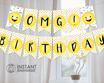 Printable DIY Emoji Party Banner, Birthday Party, Graduation Banner, Baby Shower, Emoji Bunting, Emoji Party Decorations, Instant Download