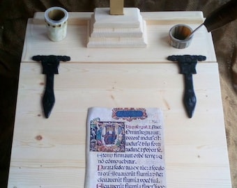 wooden writing slope portable desk ,hinged, horn inkwell, storage and cross