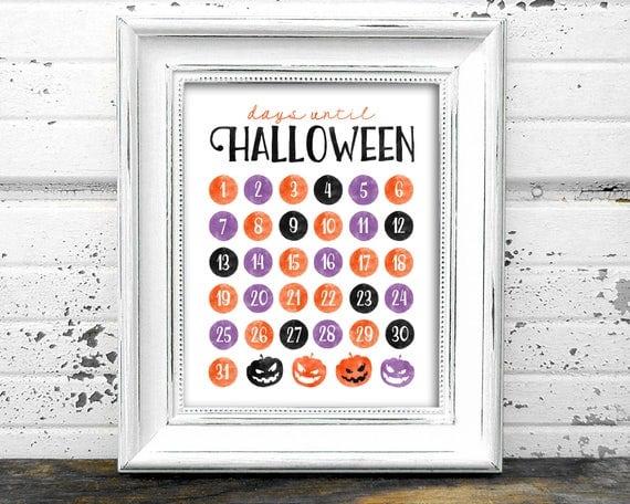 Days until Halloween Print Instant Download