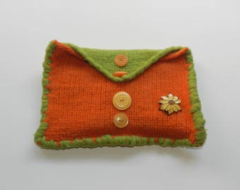 Orange and Green Hand Knit Felted Envelope Clutch Bag Purse - Yellow Poinsettia