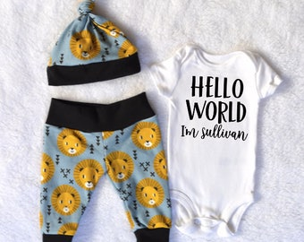 Baby boy lion etsy hello world baby boy outfit baby boy lion baby boy coming home outfit newborn clothes baby negle Images