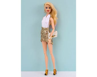 Gold sequin skirt for Barbie and Poppy Parker
