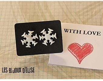White Snowflake Studs Snowflake Studs Winter Earrings Ceramic Earrings (BO09)