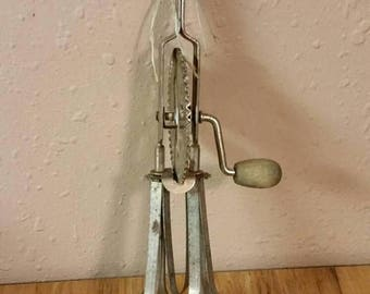 On Sale Metal and Wood Hand Mixer or Egg Beater  Kitchen Tool Rustic Decor  Farm House Style