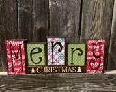 Merry Christmas wood blocks--Christmas blocks, Christmas decor--bright red